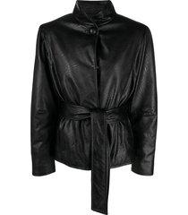 gina belted faux-leather jacket - black