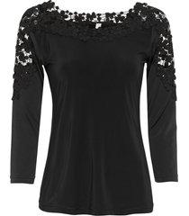 maglia con pizzo a uncinetto e maniche a 3/4 (nero) - bodyflirt boutique