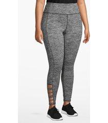 lane bryant women's active spacedye 7/8 legging - strappy hem 26/28 black and white