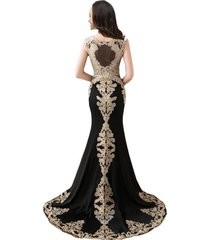 gold lace embroidery beaded mermaid long sheer formal prom evening dresses black