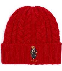 polo ralph lauren men's cable-knit bear logo beanie hat