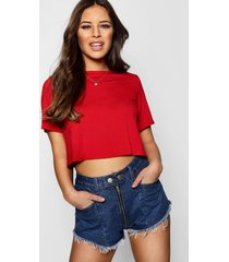 petite basic crop top met korte mouwen, red