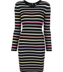 milly slim fit striped dress - black
