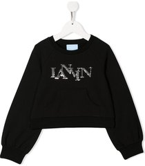 lanvin enfant sequin logo sweatshirt - black