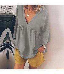 zanzea camisa casual con cuello en v de manga larga para mujer túnicas blusa suelta plisada tops plus -gris claro