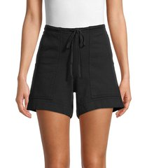 hard tail women's cotton drawstring shorts - black