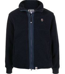 a bathing ape® boa ape head sherpa jacket - blue