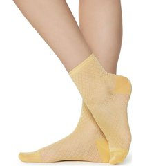 calzedonia fancy socks with geometric pattern woman yellow size tu