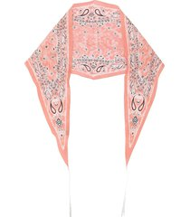acne studios paisley-print diamond-shaped bandana - pink