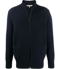 holland & holland ribbed zip-up cardigan - blue