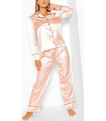 satijnen pyjama set met knopen en biezen, roségoud