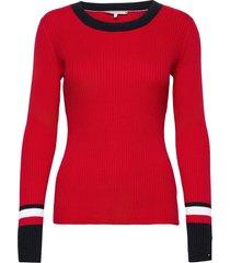th warm c-nk global stripe swtr stickad tröja röd tommy hilfiger