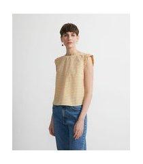 blusa regata em algodão estampa listras com babados nos ombros   marfinno   amarelo   gg