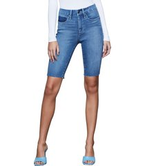 women's good american raw hem bermuda denim shorts