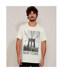 "camiseta masculina new york"" manga curta gola careca verde claro"""