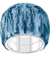 anillo swarovski nirvana, azul, acero inoxidable