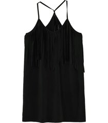 vestido flecos escote negro nicopoly