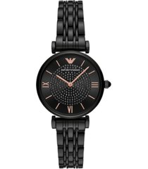emporio armani women's black stainless steel bracelet watch 32mm