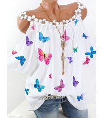 colorful camicetta a maniche corte a spalla fredda con stampa farfalle