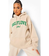 petite oversized self love club hoodie, sand