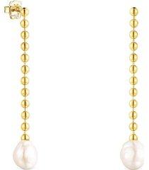 pendientes largos gloss de plata vermeil y perla tous