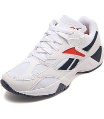 tenis running blanco-azul-rojo reebok