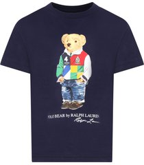 blue t-shirt for boy with bear
