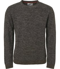 no excess pullover, r-neck, multi col jacquar dk army