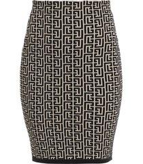 bi-color monogram jacquard knit skirt