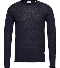 casual knit stickad tröja m. rund krage blå lindbergh