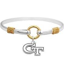 georgia tech yellow jackets two tone silver gold cuff bracelet charm jewelry gt