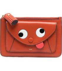 anya hindmarch graphic-print leather wallet - orange