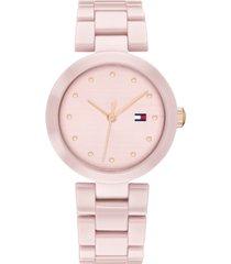 tommy hilfiger women's blush ceramic bracelet watch 32mm