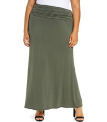 plus size women's loveappella fold over maxi skirt, size 2x - green
