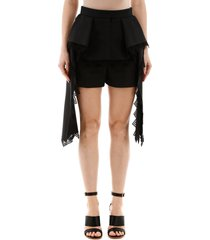 alexander mcqueen peplum shorts with lace