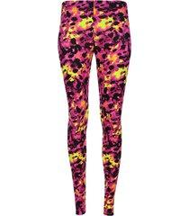 leggings deportivo estampado abstracto amarillo y rosa color morado, talla xs
