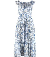 tory burch linen printed maxi dress