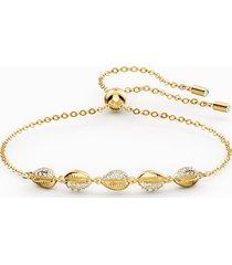 braccialetto shell cowrie, bianco, placcato color oro