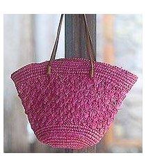 leather accent pineapple leaf tote handbag, 'magenta weave' (indonesia)