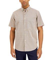 tasso elba men's stretch herringbone geo grid-print poplin shirt, created for macy's