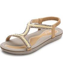 sandali piatti estivi da spiaggia con strass e punta aperta