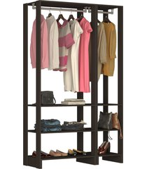 guarda roupa closet 2 peças c/ 2 cabideiro preto