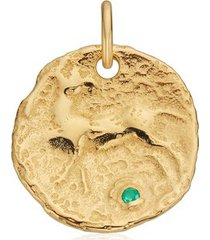 gold siren large coin gemstone pendant charm green onyx