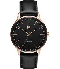 mvmt boulevard leather strap watch, 38mm in black/rose gold at nordstrom