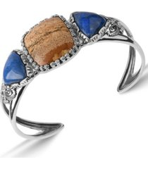 american west by carolyn pollack picture jasper and blue lapis gemstone cuff bracelet in sterling silver