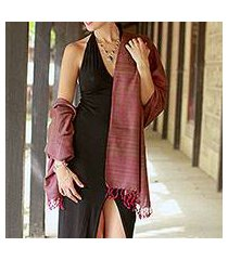 silk shawl, 'holiday plum' (india)
