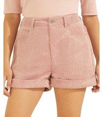 guess natalie logo-print corduroy shorts
