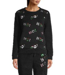 miss chievous women's faux shearling & sequin festive top - black - size m