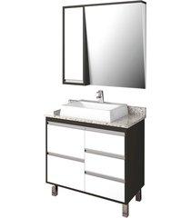 conjunto de banheiro são joão bastille, nero e branco, 80 cm