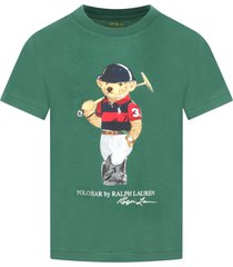 green t-shirt for boy with bear